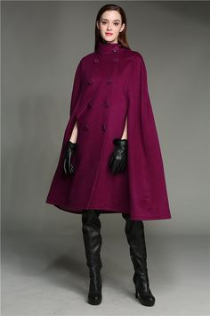 Wool Coat Cloak In Purple Cashmere Wool Coat Double Breasted Wool Jacket Military Wool Cape Cloak Wool Poncho Cashmere Fabric, Cashmere Coat, Hijab Fashion, Fashion Outfits, Sporty Fashion, Ski Fashion, Winter Fashion, Fashion Scarves, 1950s Fashion