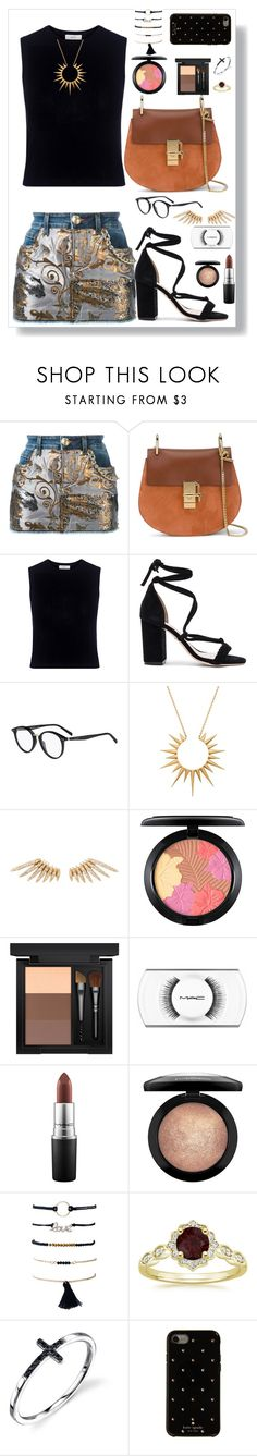 """""""Living my life like it's golden 🦋"""" by sole-rack ❤ liked on Polyvore featuring Philipp Plein, Chloé, Mother of Pearl, Raye, CÉLINE, Celine Daoust, MAC Cosmetics and Kate Spade"""