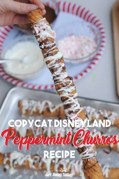 This festive holiday treat delivers the magic of the Disney parks straight to your own kitchen. Try our delicious Disney Copycat Peppermint Churros recipe listed below. Disney Copycat Peppermint Churros Recipe Some peop. Disneyland Churros, Disneyland Food, Disney Inspired Food, Disney Food, Disney Desserts, Turkey Pie, Get Away Today, Disneyland Christmas, Holiday Treats
