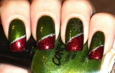 Green and red Christmas nails with a silver stripe
