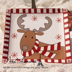 Ceramic Reindeer Platter. Christmas Holiday; Use tape for the edges to get perfect stripes. Paint Your Own Pottery.