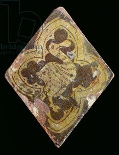 Tile depicting a mythical beast, believed to be from Hailes Abbey, Gloucestershire, early 14th century (earthenware)