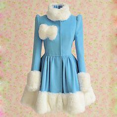 Long Sleeve Blue Woolen White Fur Trim Sweet Lolita Coat 2015 – $88.99