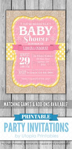 65 Trendy Baby Shower Invitations For Girls Pink Style - Babyshower Pink Cake Ideen Baby Shower Snacks, Boy Baby Shower Themes, Baby Shower Invites For Girl, Baby Shower Cards, Baby Shower Invitations, Baby Shower Photo Booth, Baby Shower Backdrop, Flower Party Themes, Baby Shower Yellow