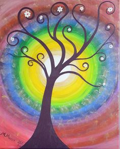 Hippie Tree by Monica Moser Hippie Posters, Pop Art Wallpaper, Hippie Art, Painted Doors, Diy Painting, Canvas Art, Canvas Ideas, Canvas Paintings, Painting Inspiration