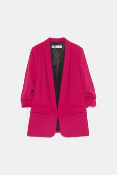 ZARA - Female - Blazer with rolled-up sleeves - Fuchsia - Xxl Blazer Outfits, Blazer Fashion, Hijab Fashion, Fall Outfits, Casual Outfits, Formal Outfits, Women's Fashion, College Fashion, College Outfits