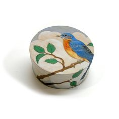 Vintage Hand Painted Wood Box with Blue Bird by 42ndAvenueVintage