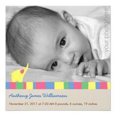 Yellow Elephant Birth Announcement