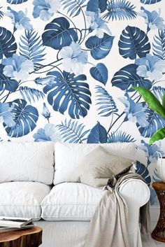 Leaves Wallpaper, Peel And Stick Wallpaper, Monstera Leaves, Removable Wall Murals, Dining Room Wall Decor, Room With Plants, Room Planning, Floral Wall, Tropical Leaves