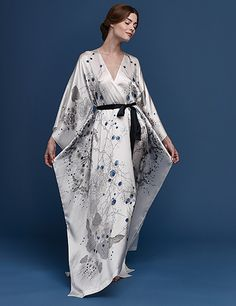 Meng SS15 luxury bridal loungewear - Cherry Blossom print silk satin v neck wrap - white