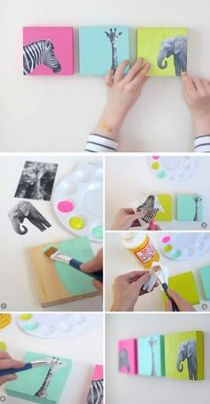 like the idea - just different pics DIY Painted Wood Block Nursery Art | Click for 25 DIY Nursery Decor Ideas | Toddler Boy Room Decor Ideas