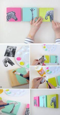 like the idea - just different pics          DIY Painted Wood Block Nursery Art   Click for 25 DIY Nursery Decor Ideas   Toddler Boy Room Decor Ideas