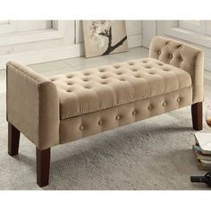 Features:  -All over deocrative button tufting.  -Decorative solid wood legs in mid tone brown.  -Multi-functional item that works in many rooms.  Style: -Contemporary.  Arms: -With Arms.  Seat Materi