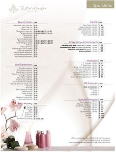 Riu Santa Fe Renova Spa Price List Beauty Blender Video, Salon Price List, Spa Room Decor, Spa Prices, Spa Menu, Esthetician Room, Salon Services, Beauty Quotes, Massage