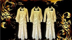 A gorgeous classy DAMIANOU (American Designer) Pale Yellow Gold Shimmery Lacy Dress & Jacket, Size UK8 Petite - may fit a slim busted UK10. Please click the following link for more photos, description, measurements and price http://cgi.ebay.co.uk/ws/eBayISAPI.dll?ViewItem&item=182424784978#ht_3861wt_1167