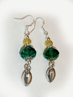 81a35e210 Green Bay Packers Inspired Football Swarovski Crystal Sterling Silver  Earrings #HANDCRAFTED #DropDangle