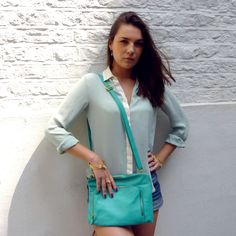 Fashion - Turquoise Bag, Gold and Pastel Jewellery