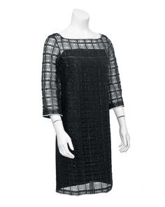 Bellciano 1960'S A-line cage style dress in a modern rectangular lace pattern with single row of diamante trim at the boat neck, bell sleeve. Black silk under slip, unused condition. Very minimalist cocktail dress.