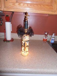 Fleur De Lis decorative wine bottle
