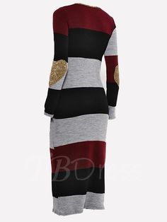 Color Block Round Neck Striped Women's Sweater Dress