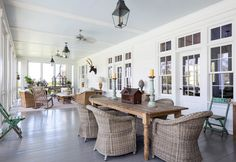 An American Farmhouse - A fabulous home to share today via Cote de Texas- simply gorgeous. A True American Farmhouse–In Texas Designer: Ginger Barber The house was designed by Cur Outdoor Rooms, Outdoor Dining, Indoor Outdoor, Outdoor Seating, American Farmhouse, Texas Farmhouse, Rustic Outdoor, Outdoor Ideas, Rustic Table
