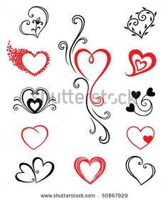 images of hearts tattoos. stock vector : Hearts � Tattoo Set 2