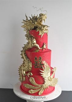 dragon and phoenix wedding cake
