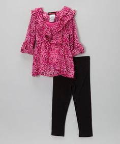Another great find on #zulily! Pink Leopard Chiffon Tunic & Leggings - Toddler & Girls #zulilyfinds