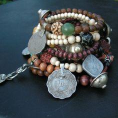 Wood and Vintage Gypsy Metalwork Bracelet - Handmade ( etsy :: http://www.etsy.com/listing/62847758/wood-and-vintage-gypsy-metalwork )