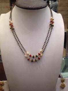 black beads chain double row