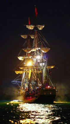Tall ship by night