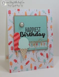 I used the Stampin' Up! Cool Treats stamp set bundle to create my card for the Happy Inkin' Thursday Blog Hop today.  We've got a color challenge and this is what I created for it. Here are the col…