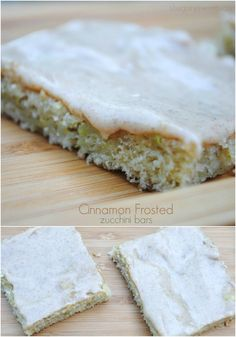 Cinnamon frosted zucchini bars, easy and delicious! www.shugarysweets.com I could gluten free this.