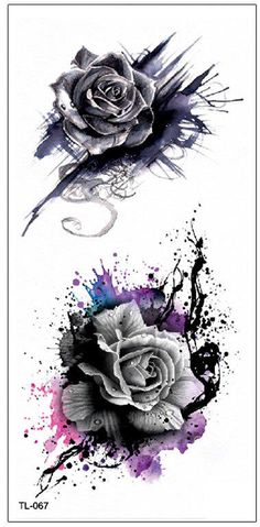 Cool Watercolor Splat Black Rose Temporary Tattoo Ideas Traditional Vintage Floral Flower Tat Ideas for Women - Trendy Tattoos, New Tattoos, Body Art Tattoos, Small Tattoos, Sleeve Tattoos, Cool Tattoos, Stomach Tattoos, Feminine Tattoos, Celtic Tattoos