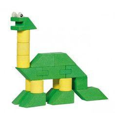 Leuke bouwset van natuurlijke materialen om 4 verschillende dinosaurussen mee te bouwen.