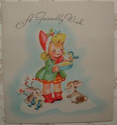 Little Girl Feeds Birds & Bunnies - 1940's Vintage Christmas Greeting Card