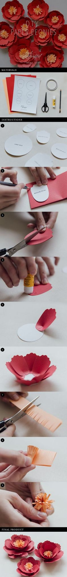 DIY Paper Peonies   Paper Craft   Paper Flowers   Wedding Decor   Free Printable Template
