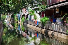 Bangkok khlong with reflections