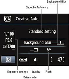 Creative auto help on Canon Rebel t3