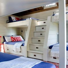 Cheerful #coastal #bunkroom for the summer. ❤️the ample storage. #decor…