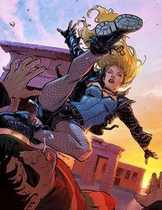 "comic-book-ladies: ""Black Canary by Xermanico "" Nightwing, Batwoman, Batgirl, Heros Comics, Dc Comics Characters, Dc Heroes, Dc Comics Girls, Gotham, Comic Books Art"