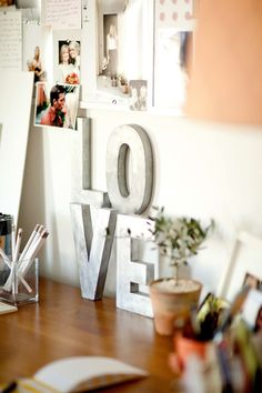 Love #studio #desk #home #office #silver #inspiration #board #topiary