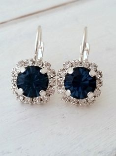 Navy blue earrings } navy blue bridesmaid earrings by EldorTinaJewelry on Etsy | http://etsy.me/1OWiPtH