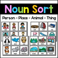 Noun sorting activity for your students to sort the noun picture cards into person, place, animal and thing categories. There are 24 cards for each type: person, place, animal and thing. Headers are also included. Nouns Kindergarten, Teaching Nouns, Teaching Kids, Kids Learning, Noun Chart, Nouns Worksheet, Preschool Learning Activities, Sorting Activities, Apple Clip Art