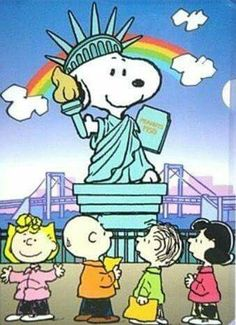 Snoopy as Statue of Liberty with Sally, Charlie Brown, Linus, and Lucy. Peanuts.