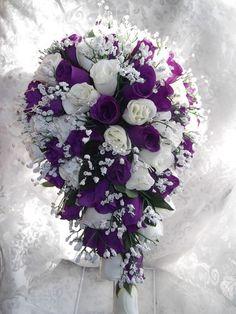 Cadbury Purple & Ivory Teardrop Bouquet. | Wedding-Flowers-Nottingham ...