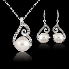 Fashion Womens Elegant Bead Crystal Necklace Earring Jewelry Set Gifts