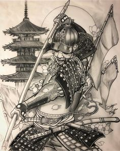 It's 6 o'clock morning again ! I just finished this Samurai sketch for my next sleeve outline appointment. Looking forward to work on this… Kabuto Samurai, Ronin Samurai, Samurai Warrior, Ninja Warrior, Japanese Warrior Tattoo, Japanese Tattoo Art, Japanese Sleeve Tattoos, Tattoo Samurai, Yakuza Tattoo