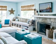 This entire house is gorgeous. Eco-friendly, casual and comfortable. Paint color is Sherwin-Williams Retiring Blue {House of Turquoise: Sabrina Alfin Interiors} I NEED a happy/cheerful wall color like this. Light Blue Decor, Beach House Decor, Cottage Decor, Home Decor, Coastal Living Rooms, Beach Living Room, Coastal Bedrooms, Cottage Living Rooms, Cottage Living