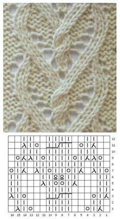 Ажурные узоры спицами из белоснежной пряжи - svjazat.ru Baby Knitting Patterns, Lace Knitting Stitches, Cable Knitting, Knitting Charts, Lace Patterns, Easy Knitting, Stitch Patterns, Beginner Knitting, Knitting Videos